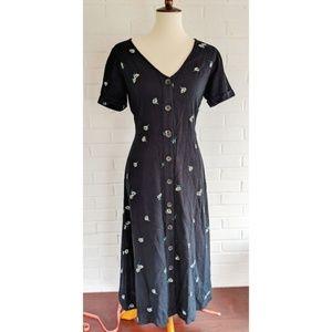 Old Navy NWT Black Daisy Midi Dress 90s S
